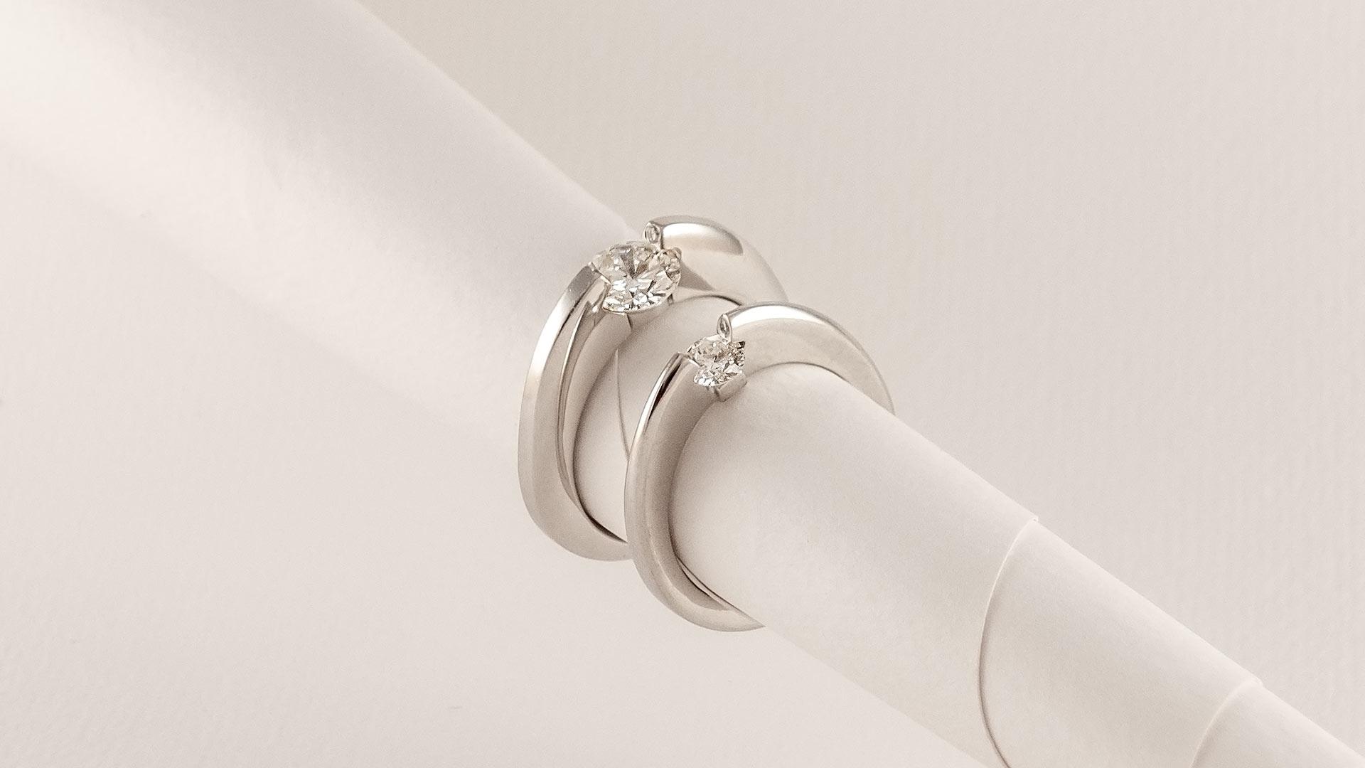 Trauringe Weißgold mit Diamant